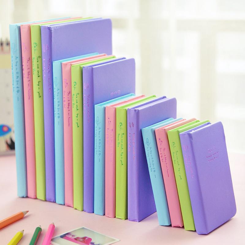 韓国文房具96シートカラーページかわいい日記帳a4大学校の事務室にミニノート-ハードカバーのpuレザーノートパッド